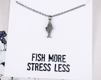 Silver Fish Necklace, fishing jewelry, outdoor necklace, inspirational necklaces with meaning, meaningful jewelry, gifts under 10 dollars