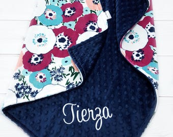 Floral Baby Blanket - Personalized Baby Blanket or Lovey - Girl Baby Gift - Navy