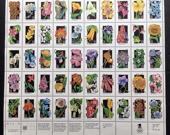 1991 Sheet of 50 Wildflowers US Postage Stamps, NH, OG with Free Shipping Sc #2647 - 2696
