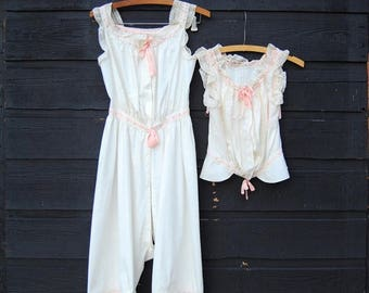 Summer SALE Antique Victorian Blouse / Chemise Under Garments XS, White Pink Cotton Lace Camisole, French Knickers, Edwardian Cotton Romper