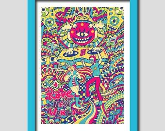 Art Print, Digital Art, Digital Drawing, Digital Illustration, Alternative Art, Boyfriend Gift, Psychedelic Art, Trippy Art, Rave Art,DJ Art