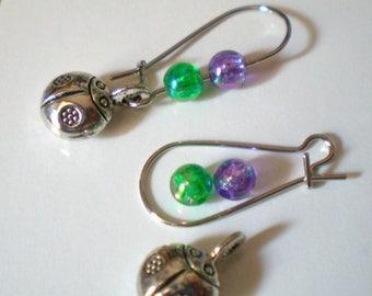 Kit EARRINGS * lady bug * purple green silver metal hooks