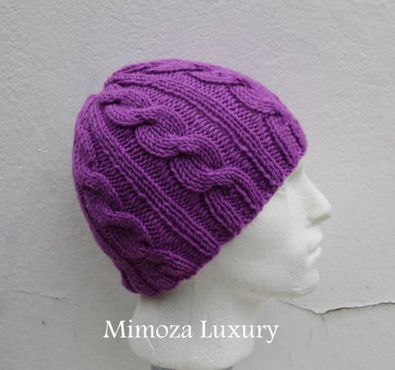 Lilac Men's Beanie hat, Hand Knitted Hat in lavender beanie hat cap, knitted men's, women's beanie hat, winter beanie, purple ski hat