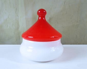Two Toned Cased Glass Apothecary Jar or Candy Dish with Circus Tent Lid - Hand Blown Art Glass from Empoli, Italy