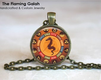 CHINESE ZODIAC - DRAGON Pendant • Year of the Dragon • Chinese Dragon • Good Fortune Dragon • Chinese New Year • Made in Australia • (P1355)