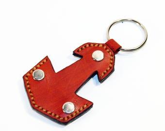 Mjolnir Leather Keychain, Handmade Keychain,Thor's Hammer Mjolnir Leather Keyring, Great gift! Orange keychain, Leather keyring.