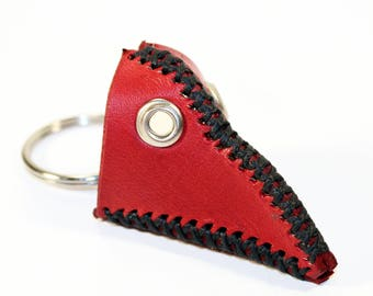 Plague Doctor Mask KeyChain! Red Plague Doctor Mask! Leather Key Chain! Great gift! Unique Handmade item