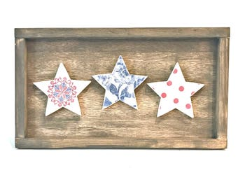 4th of July Decor - 4th of July - Wood Stars - Red White Blue - Patriotic Decor - Patriotic Stars - Fourth of July - Wooden Framed Art