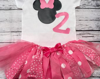 Minnie Mouse Birthday Outfit. Minnie First Birthday Outfit. Minnie Mouse Tutu. Minnie Bodysuit.