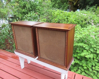 2 Vintage Wharfedale W70D Speakers Mid Century Modern Walnut Finish Very Nice