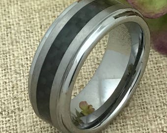 7mm Personalized Tungsten Wedding Band, Custom Engraved Promise Ring , Black Carbon Fiber Inlay Tungsten Wedding Ring, Couples Ring TCR076