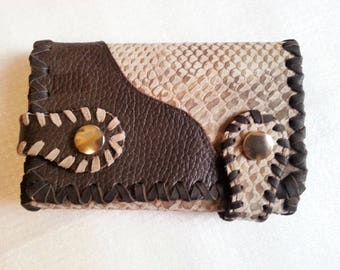 Wallet,Purse,Portemonnaie,Leather,Leather wallet, Mans,Women,Girls,Boys,leather purse,Snake,Reptil,brown,Western,Country,Cowboy,Ethnostyl