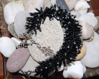 black and grey seed Bead Bracelet
