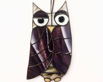 Purple and Brown Stained Glass Owl