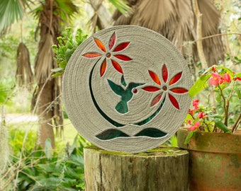 "Colorful Hummingbird Stepping Stone 18"" Diameter Concrete Decorated with Stained Glass Inlay Perfect for Your Garden, Patio & Back Yard #769"