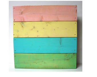 Wood Pallet Style Panel Board Blank Canvas Multi Colored Pink Yellow Teal Green