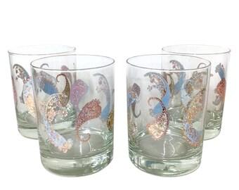 Vintage Pastel Paisley Rocks Glasses by Cera