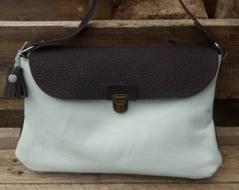 Blue woman leather handbag