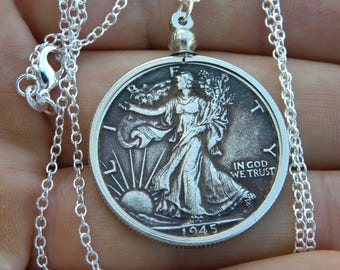 1945 authentic vintage silver walking liberty half dollar coin necklace pendant nice for 73th Birthday gift jewelry  sterling silver chain