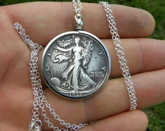 1937 authentic vintage silver walking liberty half dollar coin necklace pendant sterling silver chain 16 or 18 or 20 or 22 or 24 or 30 inch