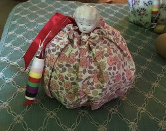 Recycled China head doll pincushion B