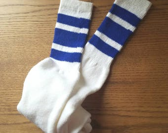 "Vintage Tube Socks Blue Stripes 22.5"" White 70s"
