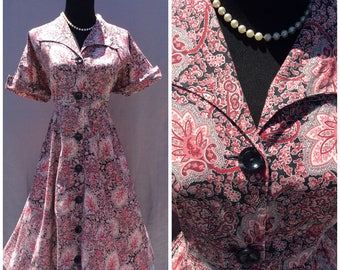 Vintage 1950's Red Paisley Print Cotton Day Dress XL Rockabilly