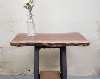 Walnut Side Table with Cast Iron Base