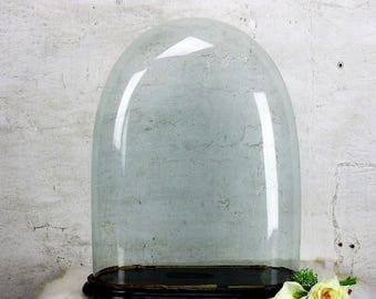 "L Antique Victorian Oval Hand Blown Glass Globe Dome Doll Clock 19.2"" H 14.9""W"