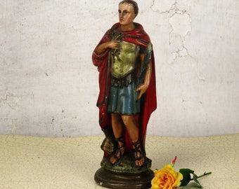 "Saint Donatus of Muenstereifel Plaster Statue Roman Soldier Collector HTF 12.59"""