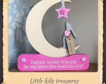 Hare & Moon: Twinkle, twinkle.. chunky freestanding wooden personalised keepsake by little kids treasures