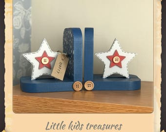 STARS chunky wooden bookends hand made , personalised- Little kids treasures
