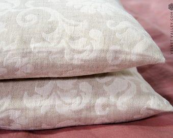 Linen floral pillow sham- vintage look washed taupe linen cushion- natural linen pillow- decorative pillow