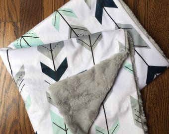 Mint/Navy/Gray Arrows, Minky Blanket, Baby Blanket