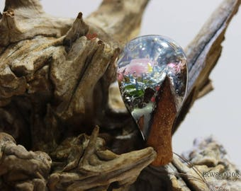 Resin wood ring the magic world under the ocean, the rose under the sea, special and unique gift