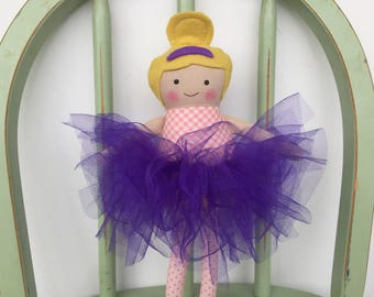 Pretty Handmade Ballerina Doll in Pink and Purple