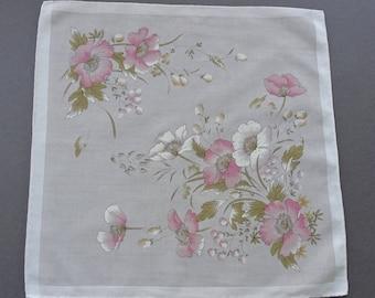 Vintage Floral Swiss Cotton Hankie Handkerchief