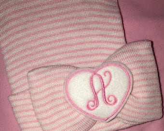 Exclusive Newborn Hospital Hat And PERSONALIZED! Bow with Initial on Heart! 1st Keepsake!