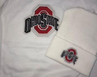Bodysuit with Newborn Hospital Hat.   Ohio State 1st  Keepsake! GREaT GiFT! 1st Keepsake!