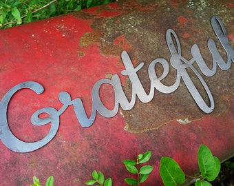 "Grateful 23"" Rustic Raw Steel Cursive Word Art Wall Sign Metal home decor by BE Creations"