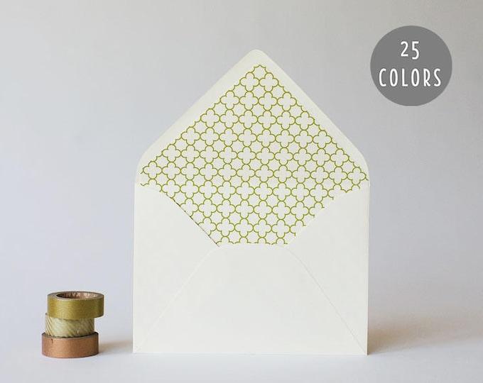 quatrefoil lined envelopes (25 color options) - sets of 10 // envelope liners lined envelopes modern wedding shower party invitation invite