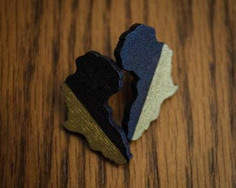 Black and Gold Africa Stud Wood Earrings