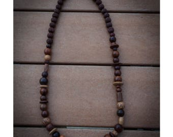 Wood Bead Necklace w/ Mix of Beads