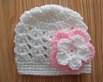 Crochet baby hat Spring baby hat Newborn girl hat White baby hat Baby girl beanie Newborn girl outfit Crochet girls hats Baby hats for girls
