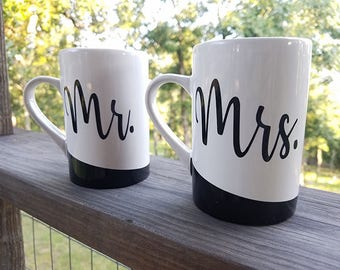 Mr. and Mrs. Coffee Mugs Cups Black and White Newlyweds Marriage Anniversary Gift