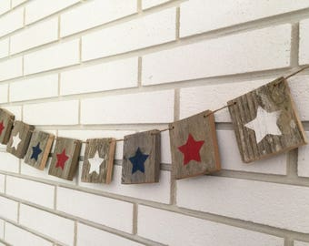 Star Banner Rustic Patriotic Decoration 4th of July Banner