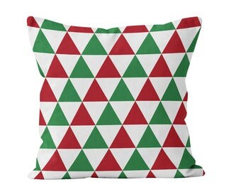 Red Green White Christmas Throw Pillow Cover, Triangles Geometric Modern Nordic Scandinavian Christmas Pillow Dover Decor _M
