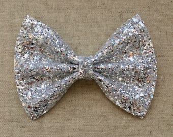 Sparkling Silver Glitter Bow Tie Bow, Silver Glitter Bow Tie Bow, Silver Glitter Hair Bow