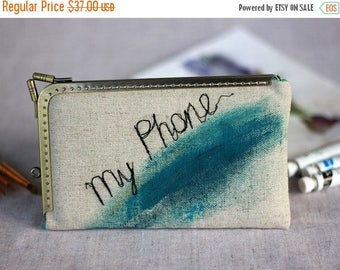 SALE Geometric IPhone 7 Wallet Wristlet, Linen Free Motion Embroidery Wallet Phone Case, Hand Painted birthday gift Samsung Galaxy Gift for