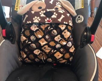 Puppy car seat swaddle